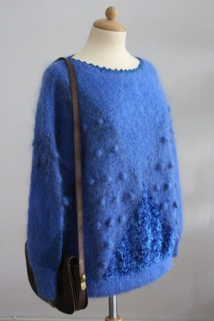 Maglione di lana blu neon Mohair