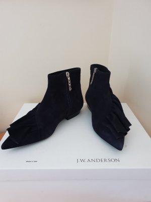 J.W Anderson Leder Ankle Boots Dunkelblau Gr. 39 NEU