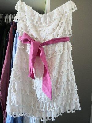 Jack Wills Sommerkleid Volants Trägerlos Weiß Pink S
