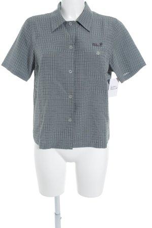 Jack Wolfskin Hemd-Bluse blassblau-schwarz Karomuster sportlicher Stil