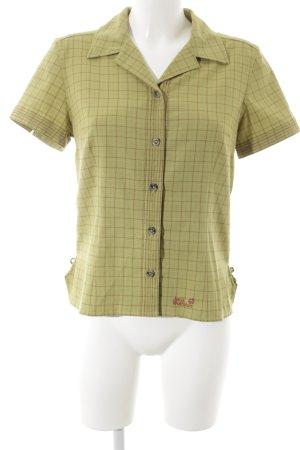 Jack Wolfskin Hemd-Bluse grasgrün-dunkelrot Karomuster sportlicher Stil