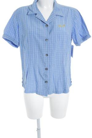 Jack Wolfskin Hemd-Bluse hellblau-weiß Karomuster klassischer Stil