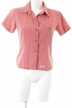 Jack Wolfskin Shirt Blouse magenta-white check pattern athletic style