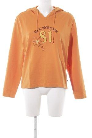 Jack Wolfskin Kapuzenpullover orange-dunkelgelb Schriftzug gedruckt
