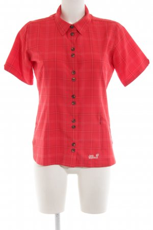 Jack Wolfskin Short Sleeve Shirt red check pattern casual look