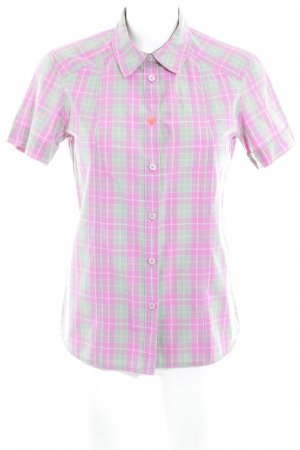 Jack Wolfskin Short Sleeve Shirt pink-lime-green check pattern casual look