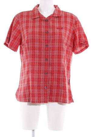 Jack Wolfskin Kurzarmhemd rot-grau Karomuster Unisex-Artikel