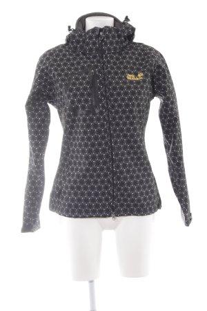 Jack Wolfskin Outdoorjacke schwarz-weiß abstraktes Muster sportlicher Stil