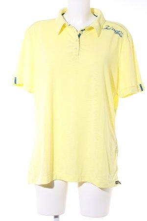 Jack Wolfskin Polo-Shirt blassgelb-dunkelblau sportlicher Stil