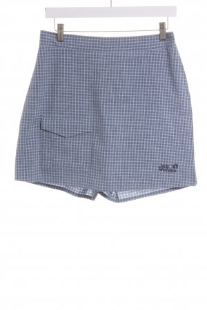 Jack Wolfskin Shorts dunkelblau-hellblau Karomuster Logostickerei