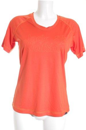 Jack Wolfskin Sportshirt orange-dunkelorange Schriftzug gestickt