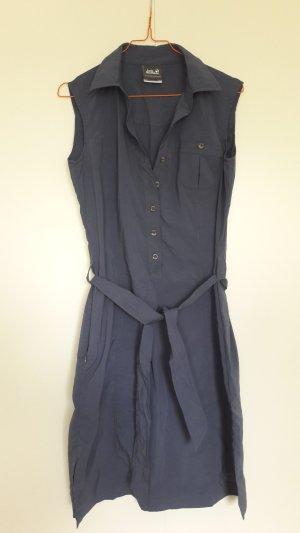 Jack Wolfskin Trekking Kleid Hemdblusenkleid rauchblau mit Gürtel Gr. S