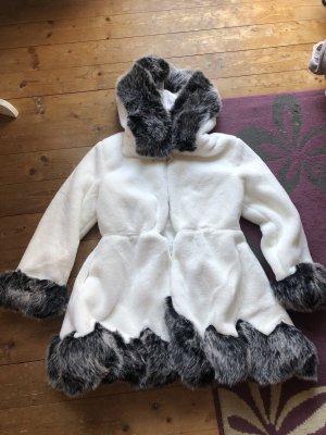 Abrigo de plumón blanco-gris