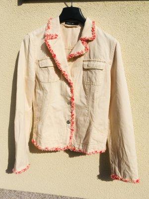Marc Cain Veste en jean crème-rouge coton