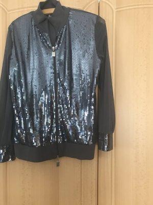 Ricarda M Glanzende blouse donkergrijs