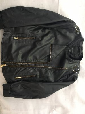 (The Mercer) NY Leather Jacket black-gold-colored synthetic material