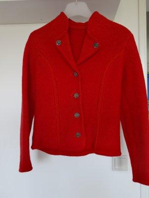 Jacke aus gefilzter Wolle mit Strickdetails