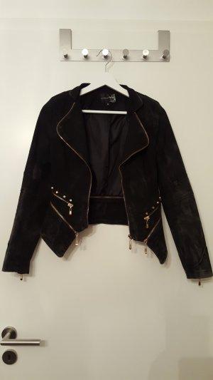 Jacke aus Jeansstoff mit Reisverschluss- und Nietendetails