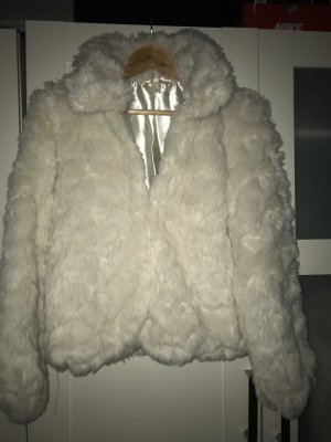 H&M Divided Fur Jacket natural white-cream