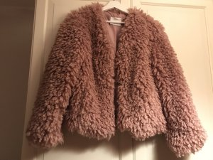 Bershka Fake Fur Jacket pink