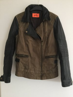 Jacke aus Leder und Baumwolle