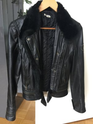 Jacke aus Lederimitat mit Kunstfell schwarz S