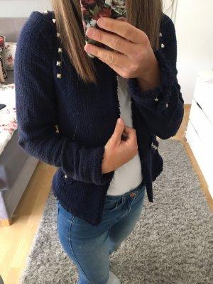 Jacke Blazer blau Nieten Bucle 34/36 Zara