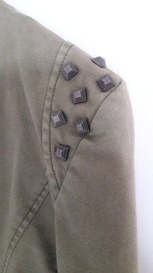 Jacke Blazer mit Nieten khaki grün 36 Lookbook