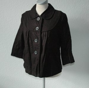 Jacke Blazer New Look retro schwarz Gr. UK 14 EU 42 40 M L Leinen Baumwolle