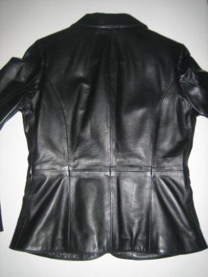 Jacke Blazer schwarz aus Leder tailliert - YUPPIE