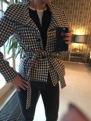 Jacke Blazer schwarz weiß kartiert Zara 38 wie neu
