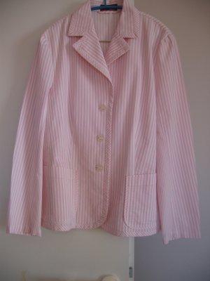 Jacke Blazer Sommerblazer Gr. 42 rosa weiß gestreift HAMMER
