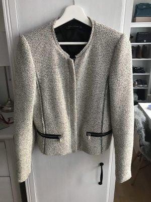 Zara Chaqueta corta negro-blanco puro