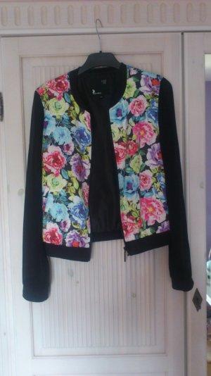 Jacke, Blumenprint, transparente Ärmel