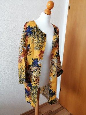 Jacke Boho Cape Kimono gelb weiß blau Blumen Poncho