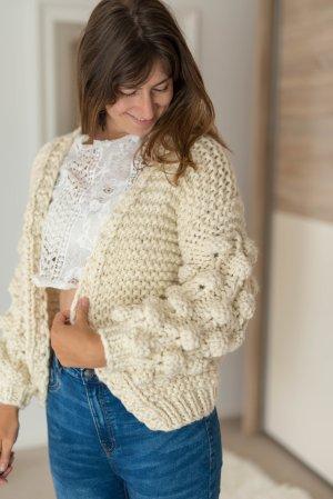 Chaqueta de lana blanco puro-crema