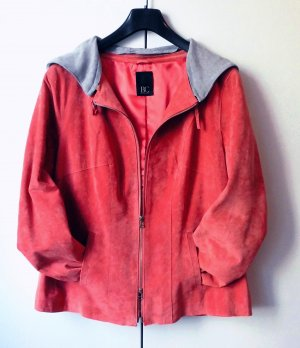 BC Collection Veste en cuir rouge framboise daim