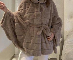 Giacca di pelliccia talpa-marrone-grigio