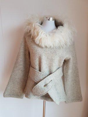 Capuchon jas lichtgrijs Wol
