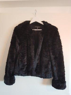 Jacke fake fur schwarz Zara