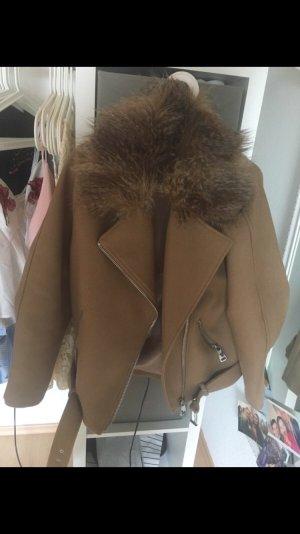 H&M Giacca di pelliccia marrone chiaro-marrone scuro