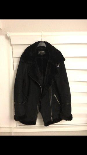 Pull & Bear Giacca di pelliccia nero