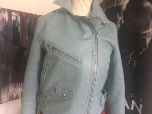 Jacke gefüttert hellblau nieten small Leder Optik  1x getragen
