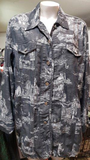 Jacke, grau, weiss, Stil Jeansjacke, Popken Selection, Gr. 42 44