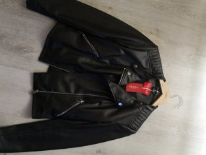 100% Fashion Veste en cuir synthétique noir
