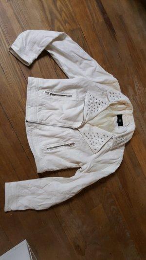 Jacke H&M Bikerstyle weiss mit silbernen Nieten