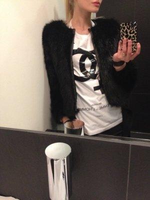 jacke h&M trend kunstfell vegan kunstleder jacke mantel kurz faux fur black neu