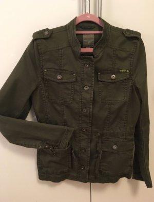 s.Oliver Tweed blazer groen-grijs-olijfgroen Katoen