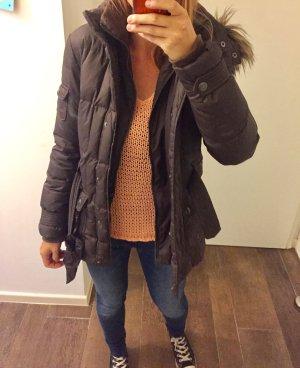 Jacke Kapuze Fell Daunenjacke braun kuschelig mit Reißverschluss und Knöpfen