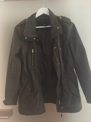Jacke, khaki mit Leder-Details